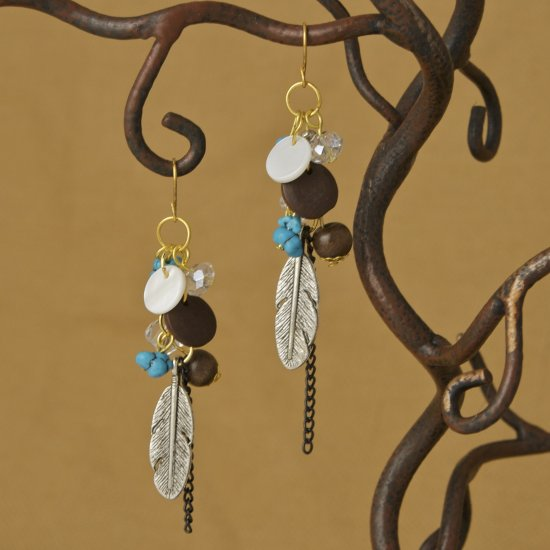 Wood, Metal feather, crystal, turquoise Earrings