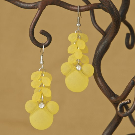 Citron Yellow Mouse Cluster Dangling Drop Fashion Earrings