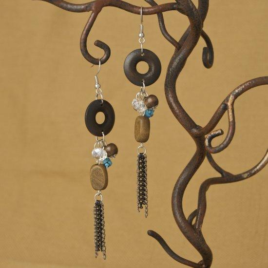 Stone, Chain, Circle, wood bead Earrings