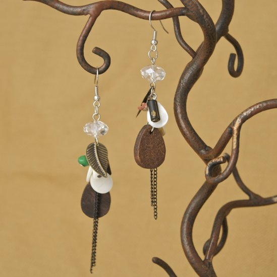 Wood, Metal leaf, crystal, green, red stone Earrings