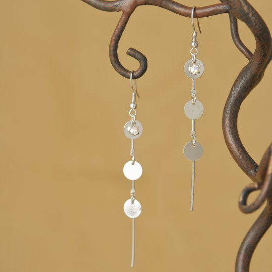 Silver Hammered Textured Circle Crystal Rhinestone Dangle Earrings