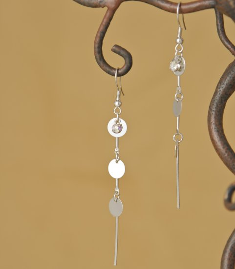 Silver Mirror Finish Circles & Crystal Rhinestone Dangle Earring