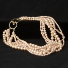 Vintage Pink Simulated Pearl Multistrand Necklace