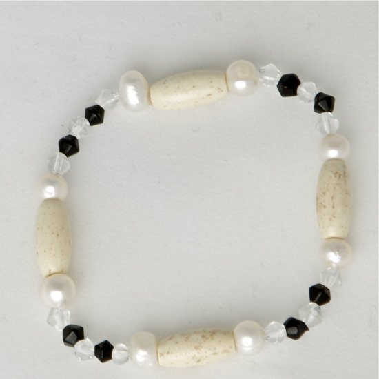 White Freshwater Pearl, Black, Crystal, Bone Accent Beads Stretch Bracelet