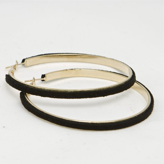Large Suede Gold Hoop Earrings - Black