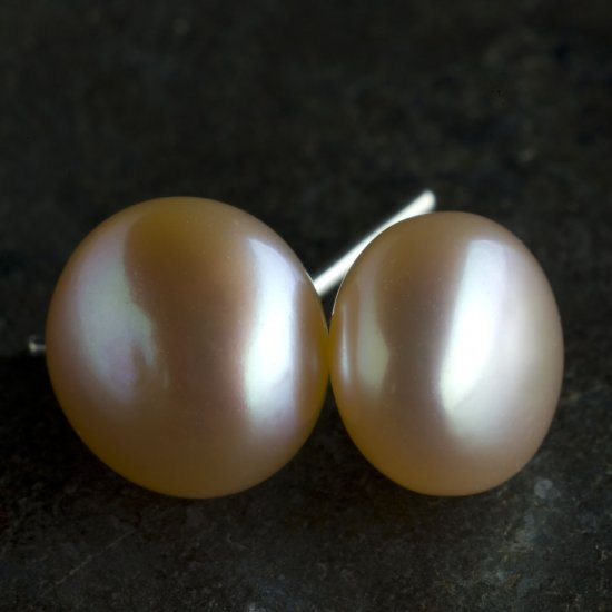 9mm Natural Freshwater Pearl Stud Earrings, Lavender