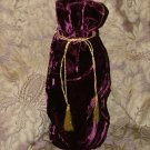 "Reusable Velvet Wine Gift Bag - Burgundy with Gold tassel 6"" x 14"""