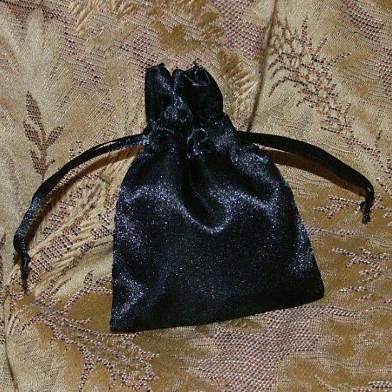 Satin Gift Jewelry Pouch - Black 3 x 4 inch