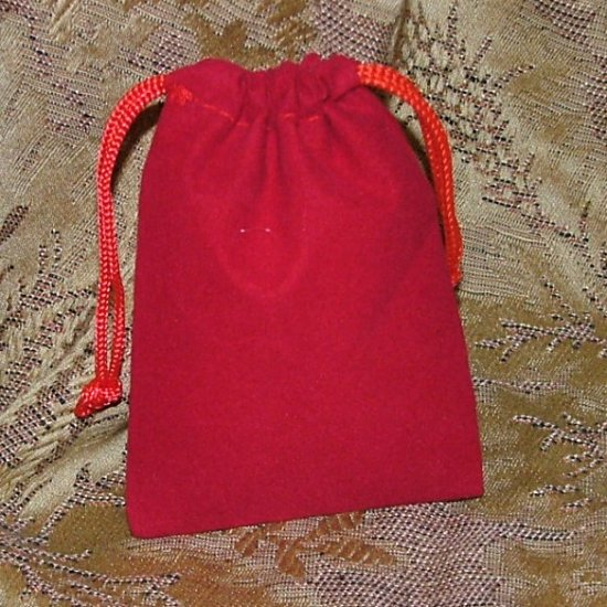 Velour Gift Jewelry Pouch - Red 3 x 4 inch