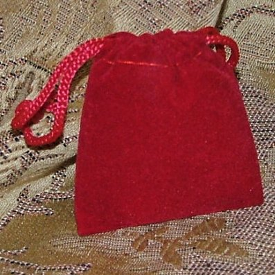 Velour Gift Jewelry Pouch - Red 2 x 2.5 inch
