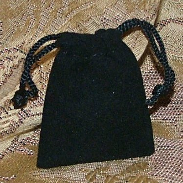 Velour Gift Jewelry Pouch - Black 2 x 2.5 inch