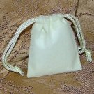 Velour Gift Jewelry Pouch - Ivory 2 x 2.5 inch
