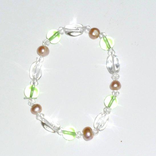Freshwater Pink Pearl, Peridot Green & Crystal Beads Stretch Bracelet
