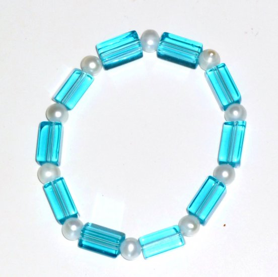 Freshwater White Pearl, Turquoise Rectangular Beads Stretch Bracelet