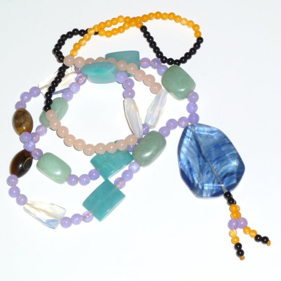 Blue Fauceted Bohemian Style Gemstone Necklace
