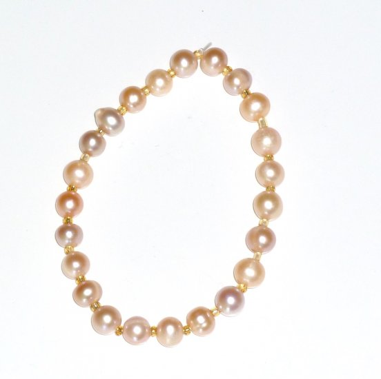 Pink Freshwater Pearl & Gold Glass Bead Stretch Bracelet