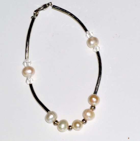 White Natural Freshwater Pearl, Crystal Beads, Long Silver-Tone Bead Bracelet