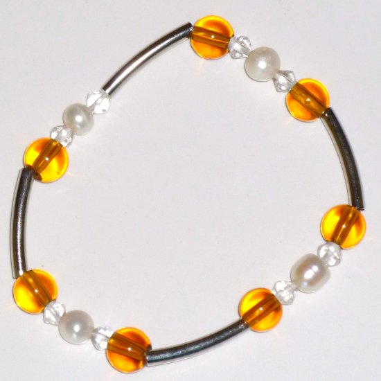 Freshwater White Pearl Bracelet, Amber Crystal & Long Silver-tone Beads Stretch Bracelet