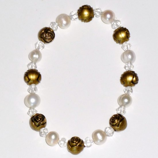 Freshwater White Pearl, Bicone Crystal, Brass-tone Rose Bead Vintage Style Stretch Bracelet