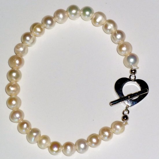 White Freshwater Pearl Bracelet & Heart Toggle Clasp