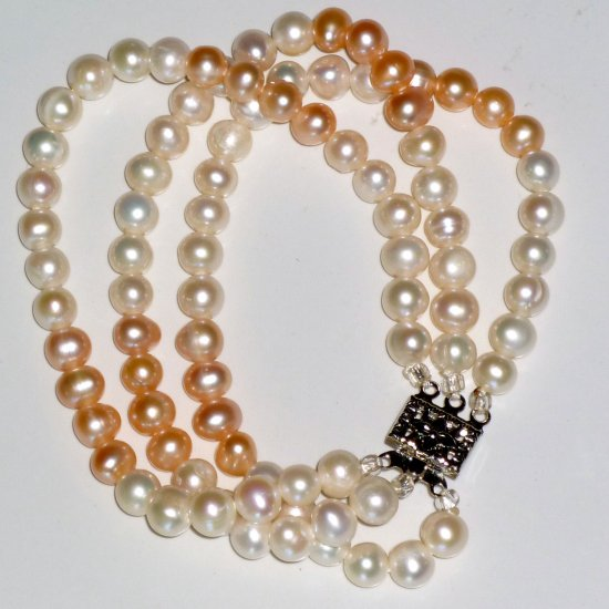Pink & White Freshwater Pearl Triple Strand Bracelet Filigree Boxed Clasp