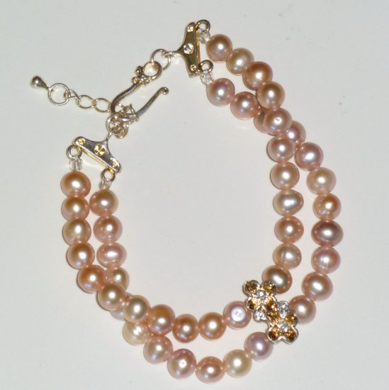 Pink Freshwater Pearl Double Strand Hook Clasp Adjustable Bracelet
