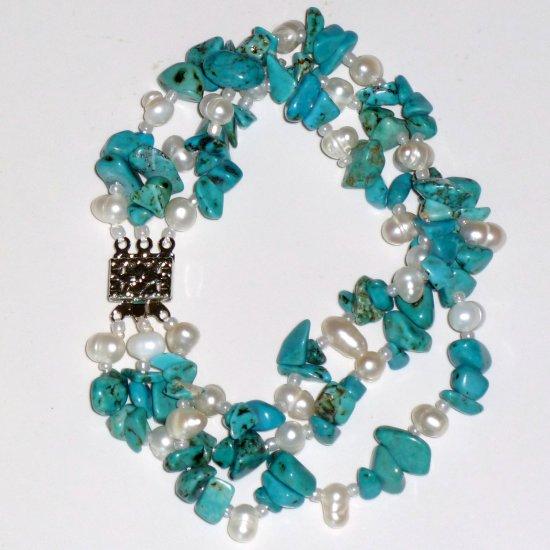 Turquoise, White Freshwater Pearl Triple Strand Bracelet & Filigree Boxed Clasp