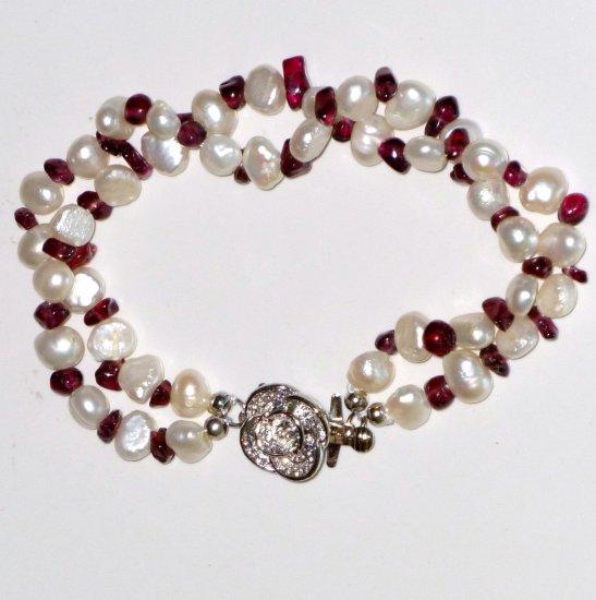 Garnet, White Freshwater Pearl Double strand Bracelet, Rose Baroque Clasp