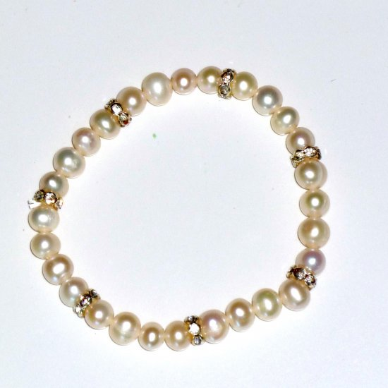 White Freshwater Pearl & Rhinestone Rondelle Bead Stretch Bracelet