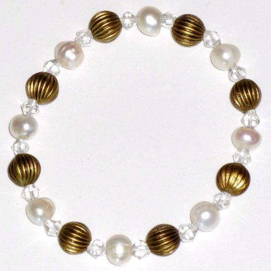Freshwater White Pearl, Bicone Crystal, Brass-tone Pumpkin Brass Bead Vintage Style Stretch Bracelet