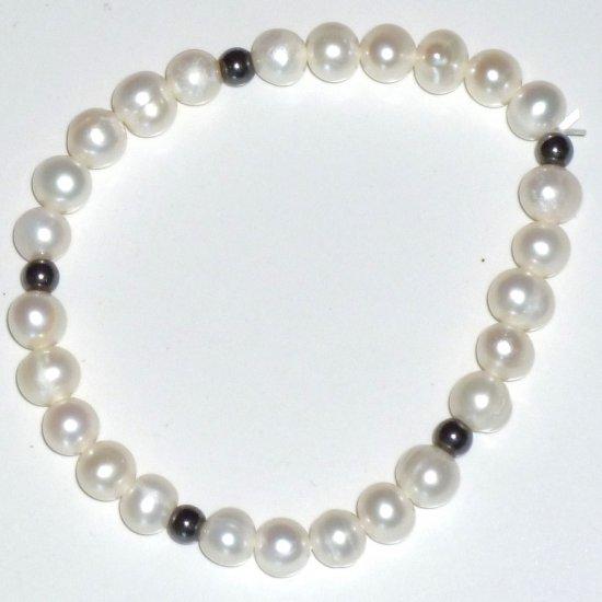 White Natural Freshwater Pearl Bracelet & Hematite Stretch Bracelet