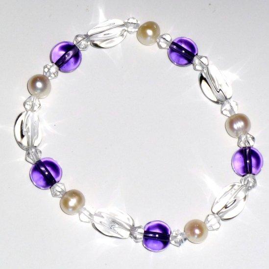 Freshwater White Pearl Bracelet, Amethyst & Crystal Beads Stretch Bracelet