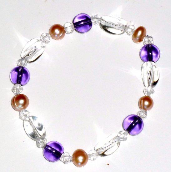 Freshwater Pink Pearl, Amethyst & Crystal Bead Stretch Bracelet