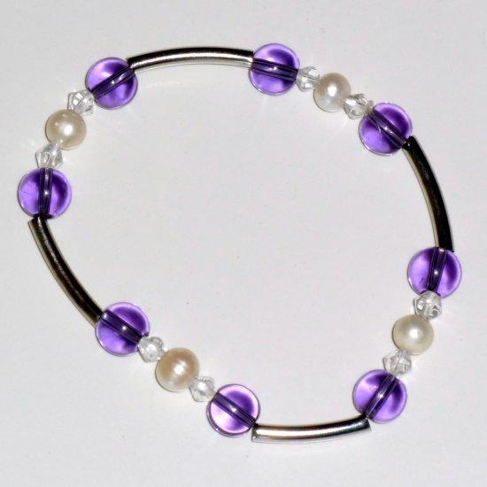 Freshwater White Pearl Bracelet, Amethyst Crystal & Long Silver-tone Beads Stretch Bracelet