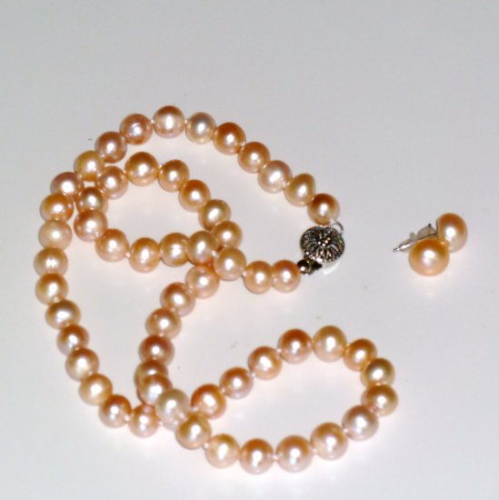 Pink Natural Freshwater Pearl 7-8mm Necklace & 8-8.5mm Earring Set, List $190