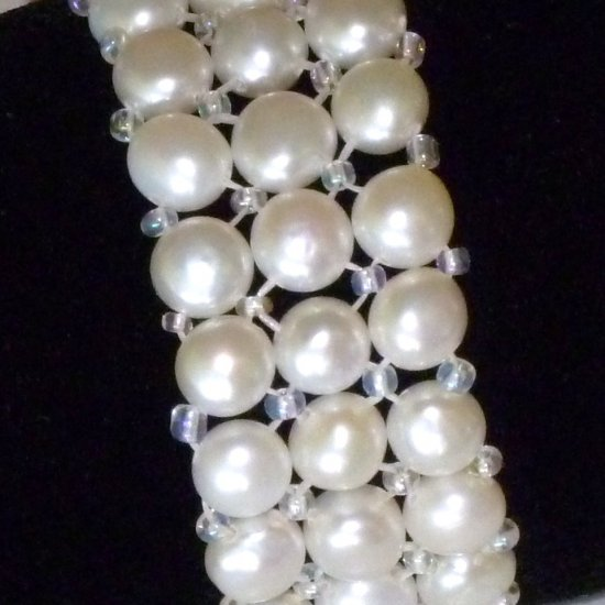 White Freshwater Button Pearl Triple Stretch Strand Bracelet - List Price $99.99