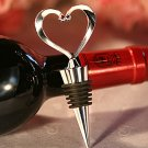 Chrome Open Heart Wine Bottle Stopper,  Love Theme Wedding Favor