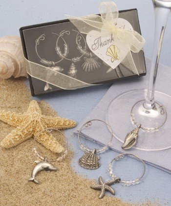 Costal Beach Wine Glass Charms - Dolphin, Starfish & Shells
