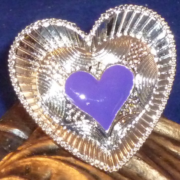 Large Detailed Enameled Heart Ring Adjustable - Dark Lavender