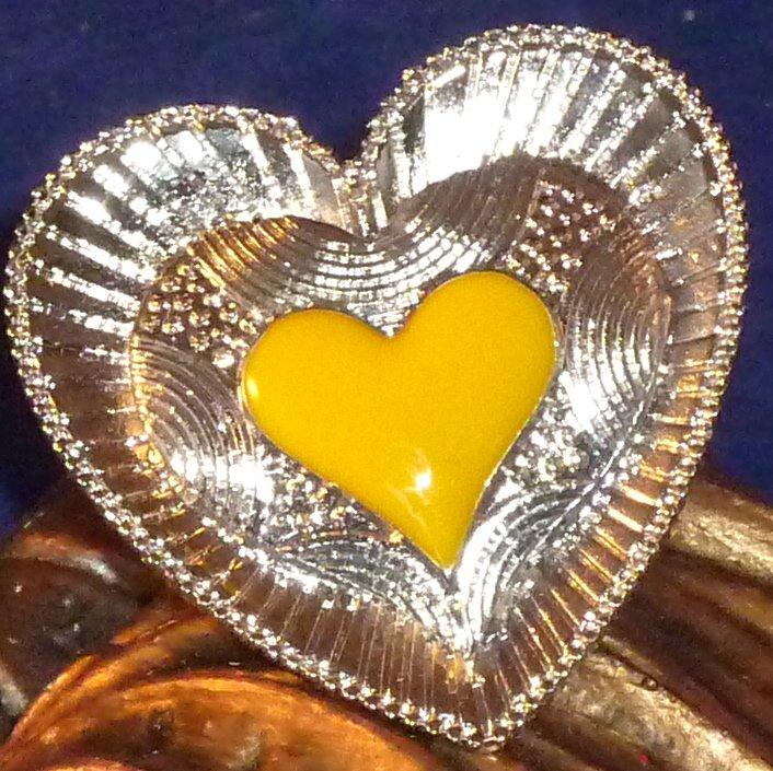 Large Detailed Enameled Heart Ring Adjustable - Yellow