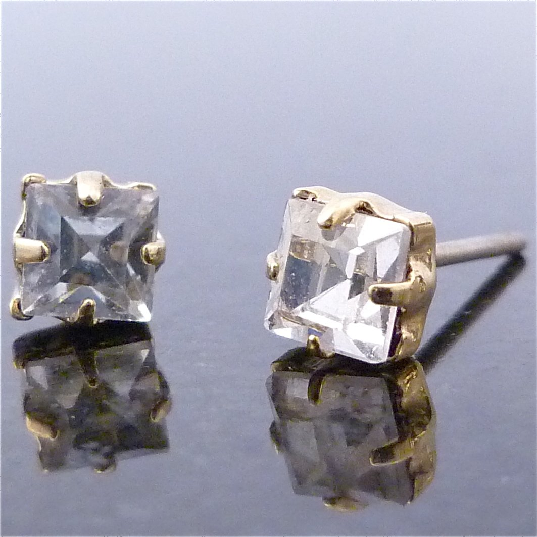 Austrian Square Crystal Stud Earrings 3.5mm
