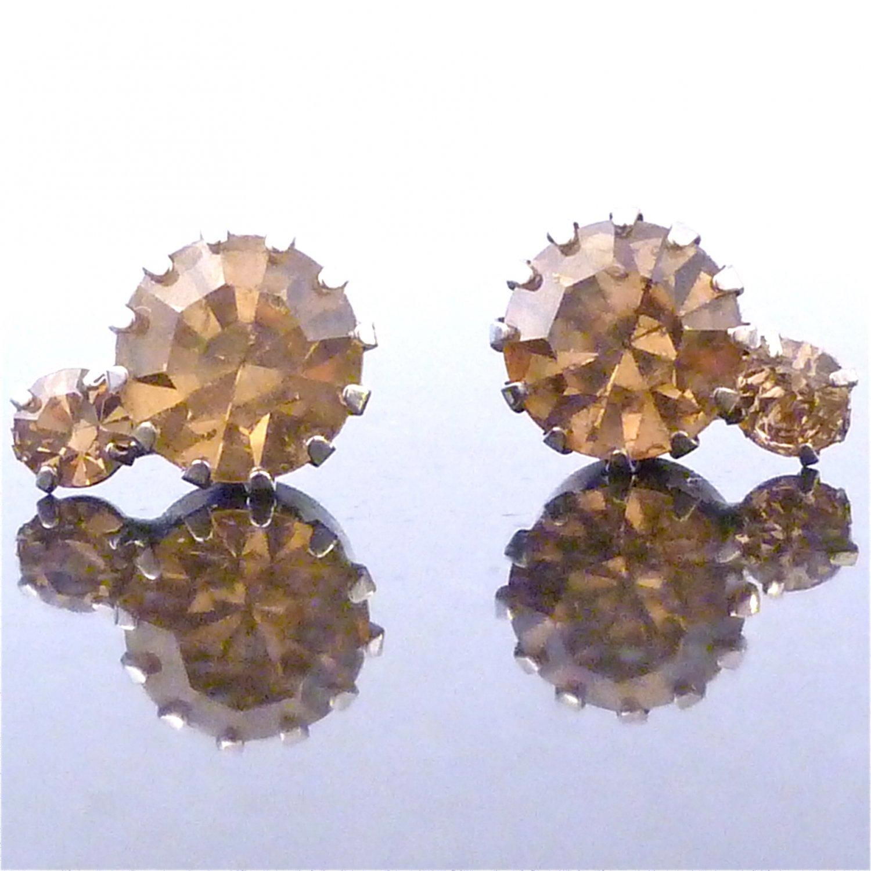 Light Colorado topaz 2 Solitaire Austrian Crystal Stone Stud Earrings