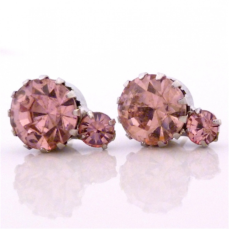 Light Peach 2 Solitaire Austrian Crystal Stone Stud Earrings
