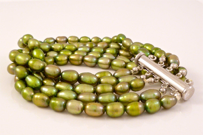 Green Freshwater Pearl Five strand Bracelet Slide clasp $130
