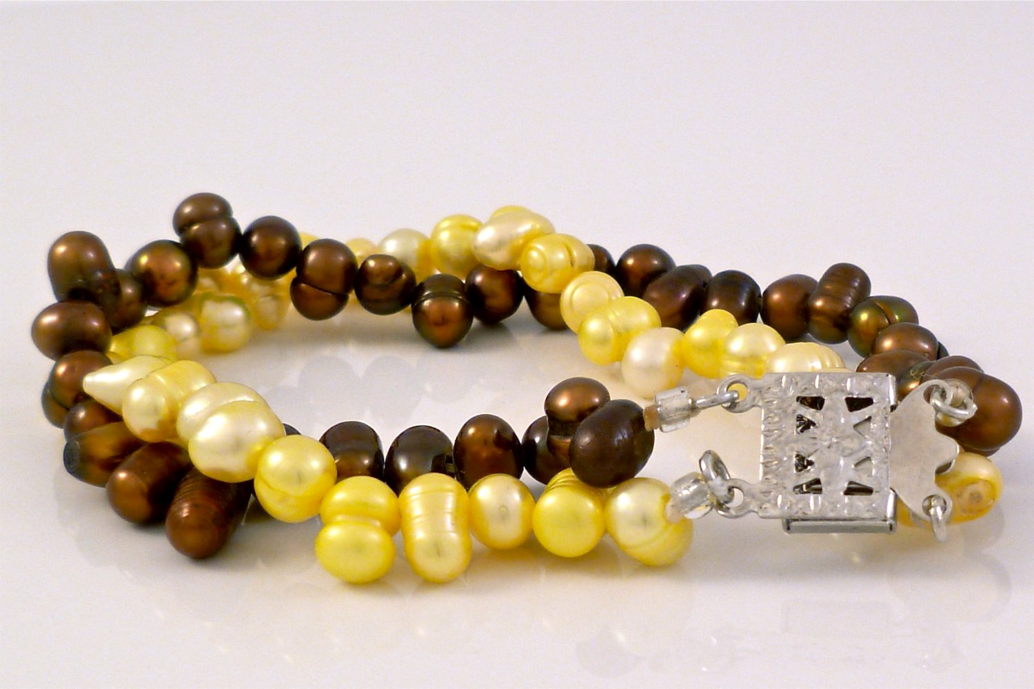 Chocolate and Yellow Freshwater Pearl Baroque Double strand Bracelet