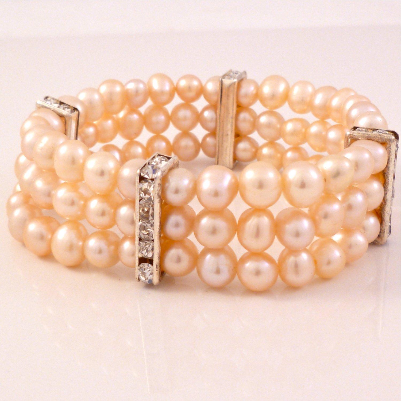 Pink Freshwater Pearl Triple Strand Stretch Bracelet, Rhinstone Keepers