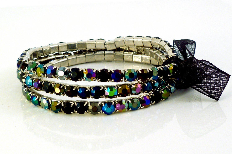 Black Diamond Crystal Stretch White Gold Plated Rhinestone Bracelets