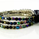 Black Diamond Crystal Stretch White Gold Plated Rhinestone Bracelets