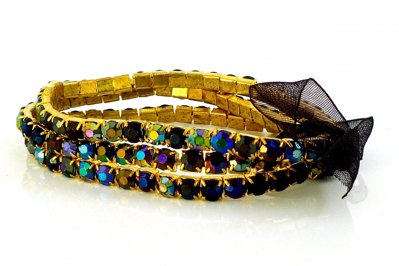 Black Diamond Crystal Stretch Yellow Gold Plated Rhinestone Bracelets