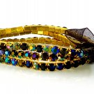 Black Diamond Rhinestone Stretch Yellow Gold Plated Bracelets